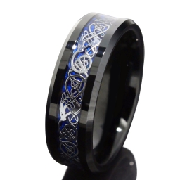Black silvering tungsten wedding ring