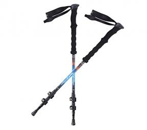 Ohuhu 80% Carbon Fiber Quick Lock Trekking Poles / Hiking Poles,2-Pack